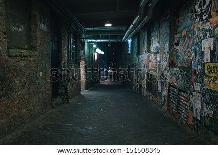Darkness in a old grunge dirty street in the middle of night Royalty-Free Stock Photo #151508345