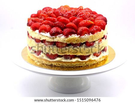 strawberry cake, birthday cake. handmade cake. celebrate party #1515096476