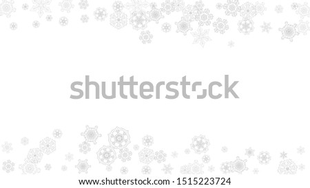 Snowflakes falling on white background. Horizontal Christmas and Happy New Year theme. Silver falling snowflakes for banner, gift card, party invitation, partner compliment and special business offers #1515223724