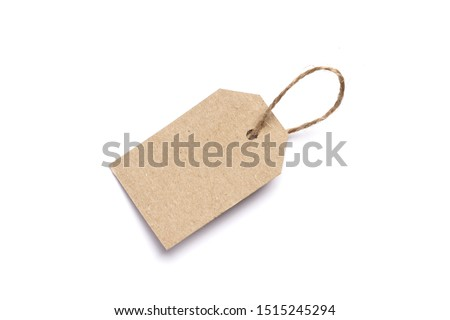 Carton tag for gift box with space for text on white background. Top view.