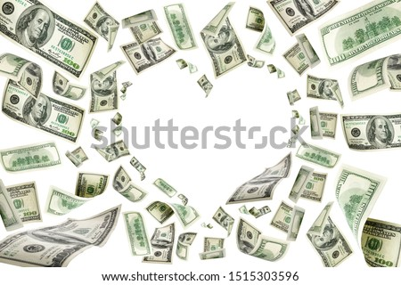 Us dollar. American money, falling cash. Flying hundred dollars #1515303596