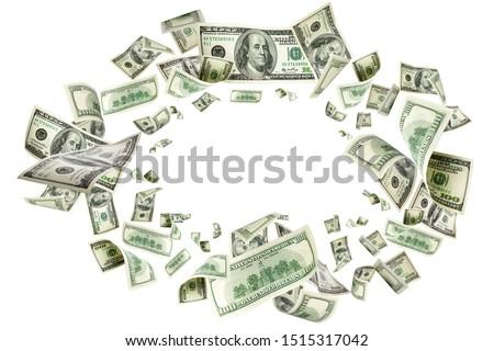 American money. Money falling. Dollar sign. Cash background, us bill.  #1515317042