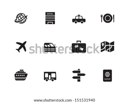 Travel  icons on white background. See also vector version.