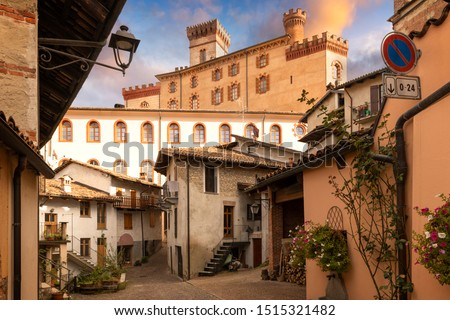 Famous beautiful Barolo village in Piemonte zone, Langhe, Italy. Barolo is the name of a famous red wine in Italy produced in this part of Italy #1515321482