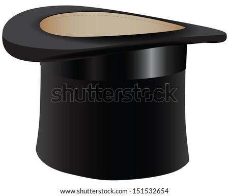 Black old hat - the cylinder. Vector illustration. #151532654