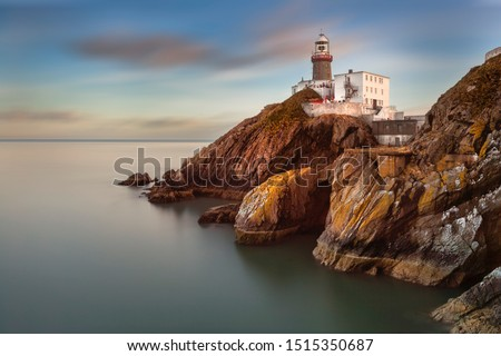 The Baily Lighthouse, Howth. co. Dublin,  Baily Lighthouse on Howth cliffs,  View of the Baily Lighthouse from the cliff  #1515350687