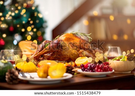 Homemade Roasted Thanksgiving Day festive tradition ideas concept Delicious Turkey with all the Sides on wooden table #1515438479