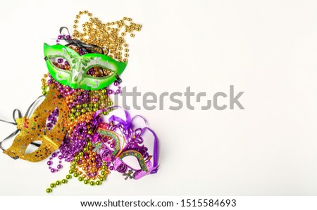 Carnival masks with decor on white background