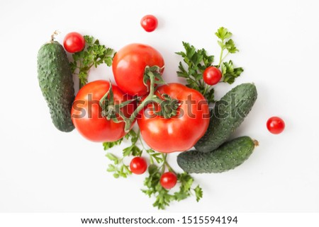 Flat lay composition with fresh ripe tomatoes on white background #1515594194