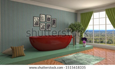 Bathroom interior. 3D illustration. Bath. #1515618335