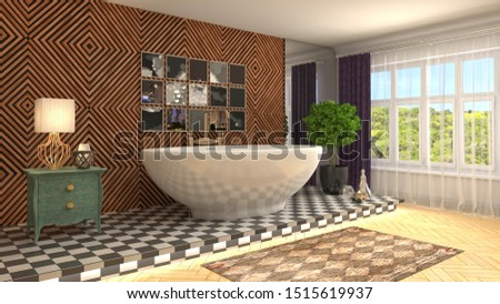 Bathroom interior. 3D illustration. Bath. #1515619937