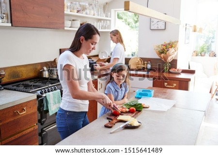 Same Sex Female Couple With Daughter Preparing School Lunchbox At Home Together #1515641489