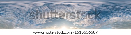 Seamless cloudy blue sky hdri panorama 360 degrees angle view with zenith and beautiful clouds for use in 3d graphics as sky dome or edit drone shot #1515656687