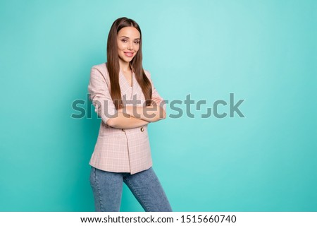 Portrait of her she nice-looking attractive lovely well-dressed pretty content straight-haired girl folded arms posing isolated over bright vivid shine blue green teal turquoise background #1515660740