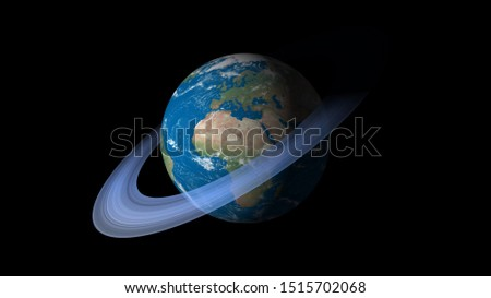 If World has a Saturn rings. Surrealistic 3D rendering, fantasy animation. World with Saturn's ice rings. #1515702068