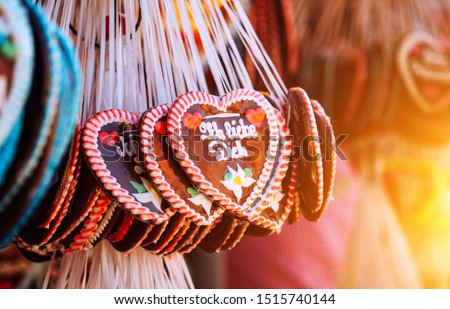"""Gingerbread Hearts at Octoberfest Munich, with german text """"Ich liebe Dich"""" in englisch """"I love you"""""""