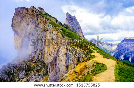 Mountain summit path fog landscape. Mountain summit pathway fog. Mountain summit fog. Mountain path fog #1515755825