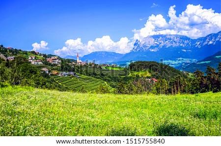 Mountain valley village landscape. Green mountain valley village view. Mountain valley village panorama. Mountain green valley village view #1515755840
