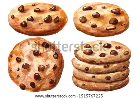 Set of cookies with chocolate, christmas elements, watercolor clipart on isolated white background
