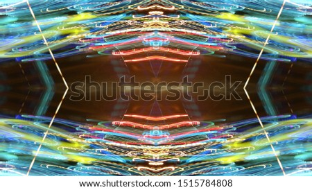 Light effects. Neon glow. Symmetry and reflection. Festive decoration. Abstract blurred background. Glowing texture. Shining pattern. #1515784808