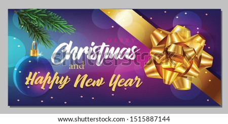 Christmas greeting card. Xmas Festive composition with decorative objects. Calligraphic text. Xmas elements decorations. Creative holiday invitation template top view. Vector illustration #1515887144