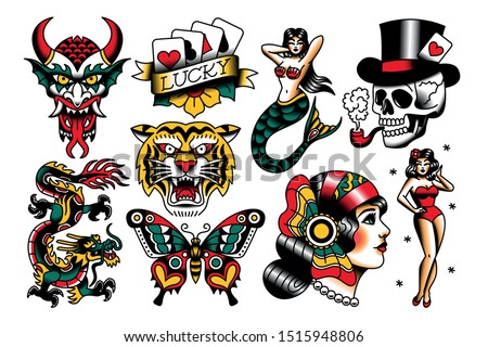 Vector Set Of Old School Tattoo Designs Royalty-Free Stock Photo #1515948806