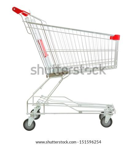 Shopping cart, isolated on white Royalty-Free Stock Photo #151596254
