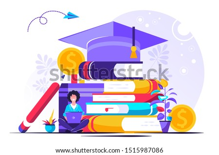 Student loans vector illustration. Flat tiny study finance persons concept. Education investment banking business. Economical system to get money for college or university. Payment obligation symbol. Royalty-Free Stock Photo #1515987086