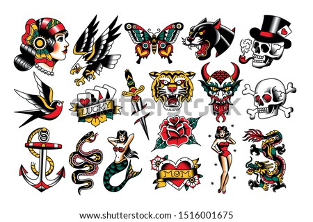 Vector Set Of Old School Tattoo Designs Royalty-Free Stock Photo #1516001675