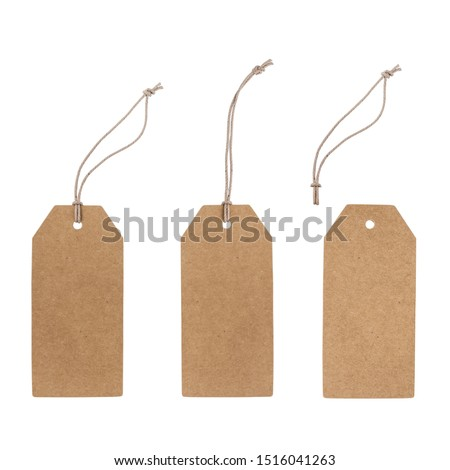 Set of blank cardboard tags isolated on white with different ropes. Without shadows, easy to use for your design.