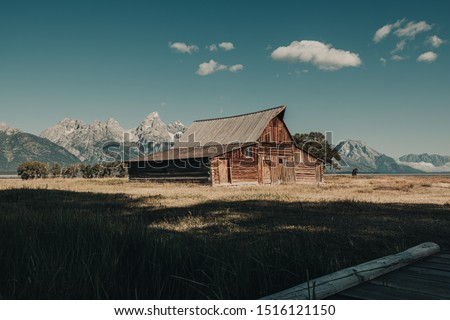 The Famous T.A. Moulton Barn in the Historic Mormon Row District of Grand Teton National Park, Wyoming, USA. The most photographed barn in America and took over 30 years to build. #1516121150