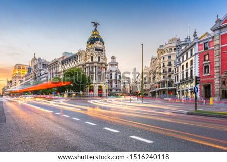 Madrid, Spain cityscape at Calle de Alcala and Gran Via. #1516240118