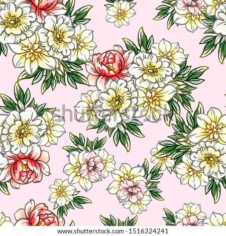 Abstract elegance seamless pattern with floral background #1516324241