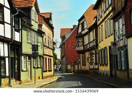 Quedlinburg/ Germany - 6/13/2019: Half-timbered houses in the old town #1516439069