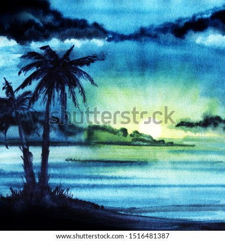 Abstract watercolor landscape. Dark evening night sky. Сlouds. Gradient from saturated blue to green, yellow. Sunset sun. silhouette two tall palm trees. Hand drawn watercolor background illustration