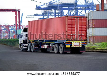 Truck on road with red container, transportation concept.,import,export logistic industrial Transporting Land transport on Port transportation storge              #1516555877