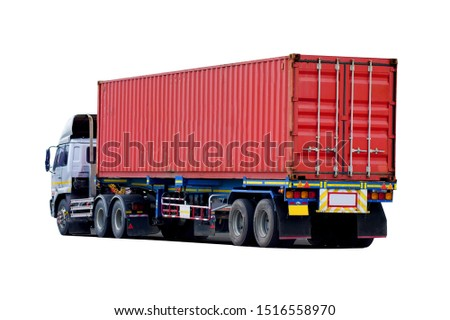 Side view of Truck on road with red container, transportation concept,import,export logistic industrial Transporting Land transport on the expressway.on white background         #1516558970