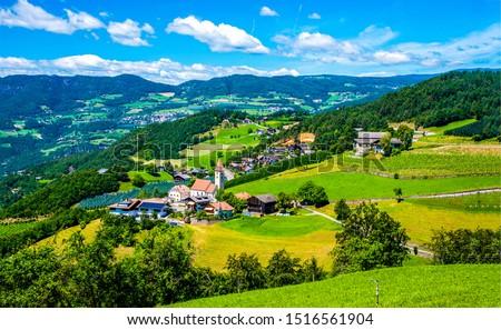 Mountain green valley village landscape. Mountain valley village panorama. Village in green mountain valley view. Mountain valley village view #1516561904