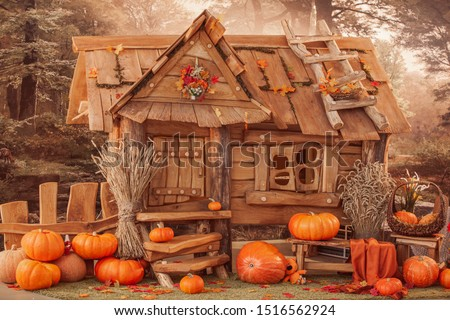fairytale oak house, interior decor, autumn background with pumpkins.