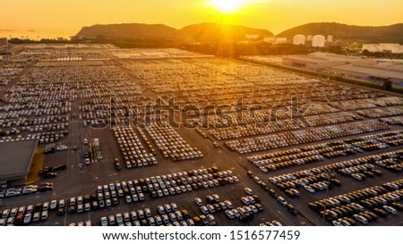 Aerial view  lot of car automotive for import and export shipping to dealership.