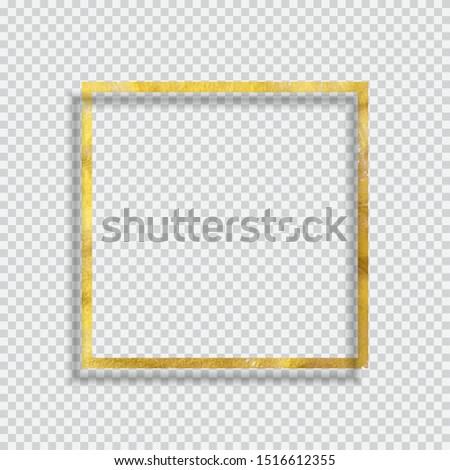 Gold Paint Glittering Textured Frame on Transparent Background. Vector Illustration EPS10 #1516612355