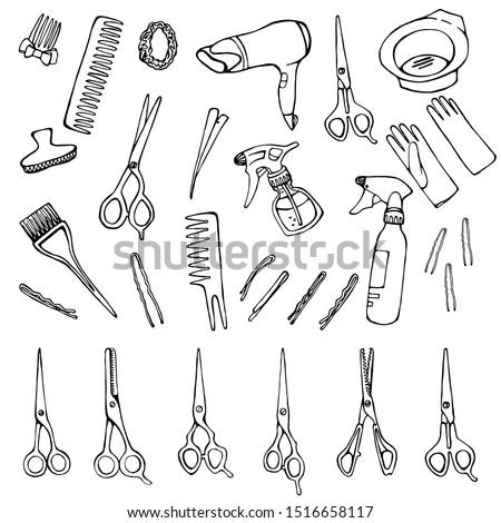 Set of hairdresser's accessories: scissors, hair dryer, hair clips, combs, gloves, spray gun.Vector illustration.Hand drawn vector.
