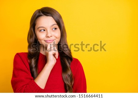 Portrait of interested minded cunning sly model kid think plan tricks for her friends wear style pullover isolated over yellow color background #1516664411