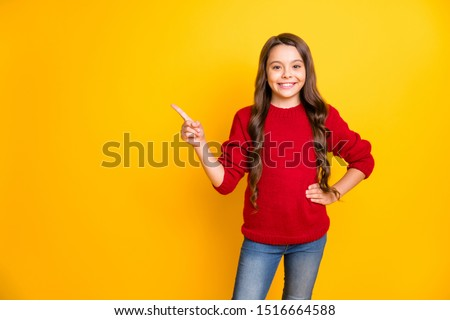 Portrait of confident cool kid promoter point index finger copyspace demonstrate choice decision advertise promo wear stylish style outfit  denim jeans isolated over yellow color background #1516664588