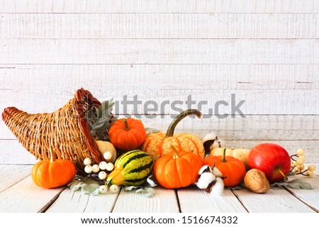 Thanksgiving cornucopia filled with autumn vegetables and pumpkins against a rustic white wood background #1516674332