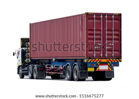 Side view of Truck on road with red container, transportation concept,import,export logistic industrial Transporting Land transport on the expressway.on white background               #1516675277