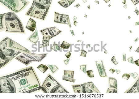 American money. Money falling. Dollar sign. Cash background, us bill.  #1516676537
