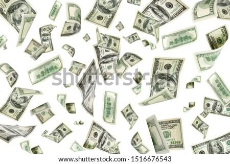 American money. Money falling. Dollar sign. Cash background, us bill.  #1516676543