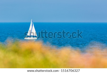 Sailing Boat, Sailing. Ship yachts with white sails in the open Sea. Luxury boats. #1516706327