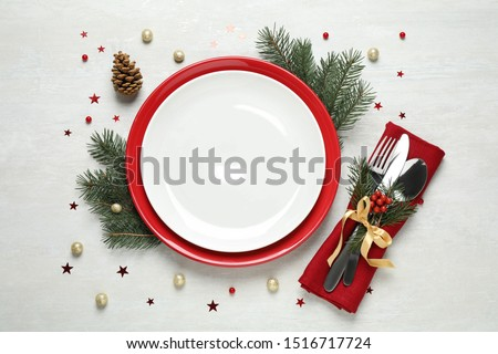 Christmas table setting on white background, flat lay #1516717724